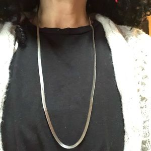 Vintage Herringbone SilverTone Long Chain Necklace